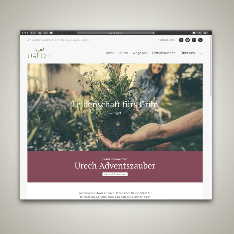 WEBSITE, Urech Garten AG